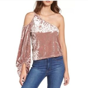 Leith one shoulder velvet top